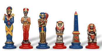 Egyptian Theme Chess Set Brass & Nickel with Hand Painted Pieces