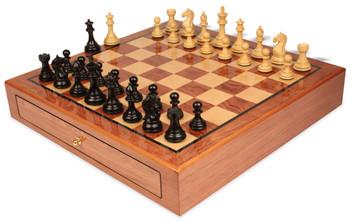 "Fierce Knight Staunton Chess Set Ebonized & Boxwood Pieces 3.5"" King with Bubinga Case"