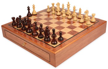 "Fierce Knight Staunton Chess Set Rosewood & Boxwood Pieces 3.5"" King with Bubinga Case"