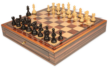 "Deluxe Old Club Staunton Chess Set Ebonized & Boxwood Pieces 3.25"" King with Macassar Case"