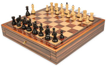 "Yugoslavia Staunton Chess Set Ebony & Boxwood Pieces 3.25"" King with Macassar Case"