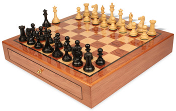"New Exclusive Staunton Chess Set Ebony & Boxwood Pieces 3.5"" King with Bubinga Case"