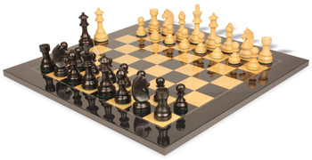 "German Knight Staunton Chess Set in Ebonized Boxwood & Boxwood with Black & Ash Burl Chess Board - 3.75"" King"