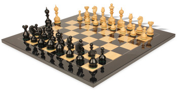 "Dublin Antique Repro Chess Set in Ebony & Boxwood with Black & Ash Burl Chess Board - 4"" King"