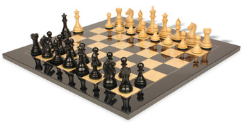 "Fierce Knight Staunton Chess Set in Ebonized & Boxwood with Black & Ash Burl Chess Board - 4"" King"