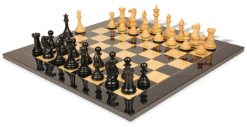 "New Exclusive Staunton Chess Set in Ebonized Boxwood & Boxwood with Black & Ash Burl Chess Board - 3.5"" King"