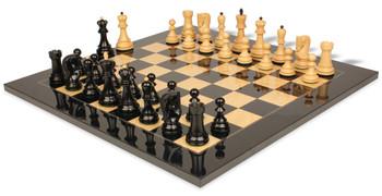"Yugoslavia Staunton Chess Set in Ebonized Boxwood & Boxwood with Black & Ash Burl Chess Board - 3.875"" King"