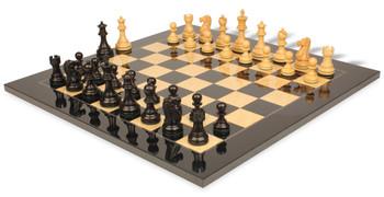 "Deluxe Old Club Staunton Chess Set in Ebonized Boxwood & Boxwood with Black & Ash Burl Chess Board - 3.25"" King"