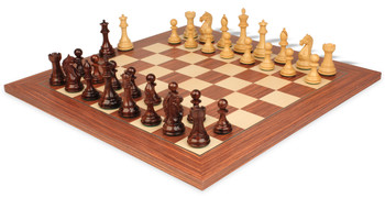 "Fierce Knight Staunton Chess Set in Rosewood & Boxwood with Rosewood & Maple Deluxe Chess Board - 4"" King"