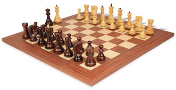 """Yugoslavia Staunton Chess Set in Rosewood & Boxwood with Rosewood & Maple Deluxe Chess Board - 3.875"""" King"""