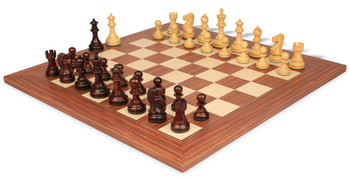 "Deluxe Old Club Staunton Chess Set in Rosewood & Boxwood with Rosewood & Maple Deluxe Chess Board - 3.75"" King"