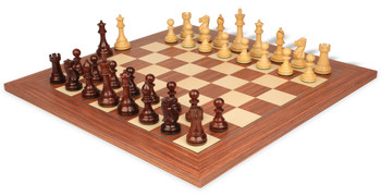 "British Staunton Chess Set in Rosewood & Boxwood with Rosewood & Maple Delxue Chess Board - 4"" King"