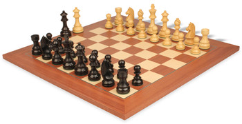"German Knight Staunton Chess Set in Ebonized Boxwood with Mahogany & Maple Deluxe Chess Board - 2.75"" King"