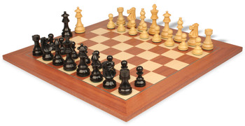 "French Lardy Staunton Chess Set in Ebonized Boxwood & Boxwood with Mahogany & Maple Deluxe Chess Board - 3.25"" King"