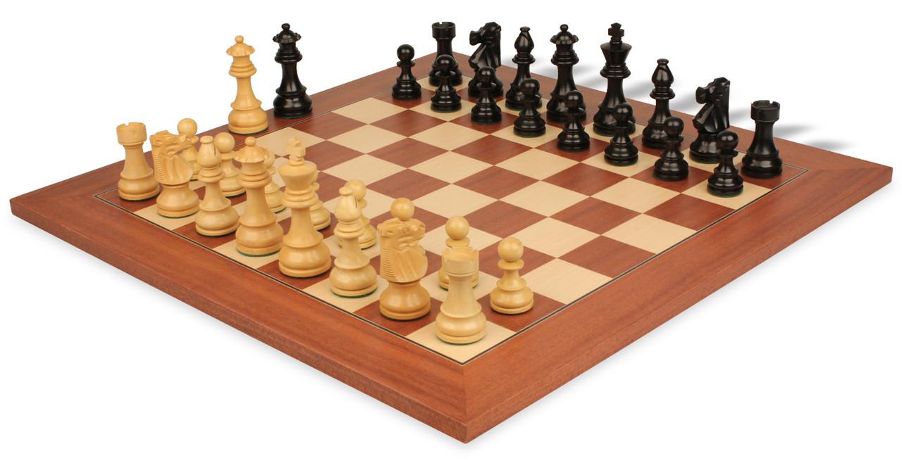 French Lardy Staunton Chess Set in Ebonized Boxwood Boxwood with