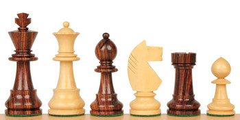 "Bohemia Staunton Chess Set in Rosewood & Boxwood - 3.75"" King"