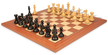 """New Exclusive Staunton Chess Set in Ebonized Boxwood & Boxwood with Mahogany & Maple Deluxe Chess Board - 3"""" King"""