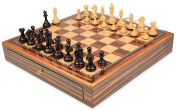 "Fierce Knight Staunton Chess Set Ebony & Boxwood Pieces 3.5"" King with Macassar Case"
