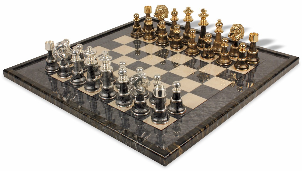 Awesome Variegated Gold U0026 Silver Chess Set Package