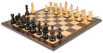 "Yugoslavia Staunton Chess Set in Ebonized Boxwood with Macassar Chess Board - 3.875"" King"