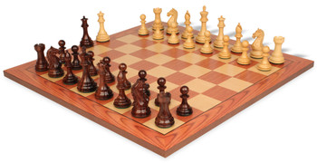 "Fierce Knight Staunton Chess Set in Rosewood & Boxwood with Rosewood Chess Board - 4"" King"