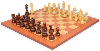 "German Knight Staunton Chess Set in Rosewood & Boxwood with Rosewood Chess Board - 2.75"" King"