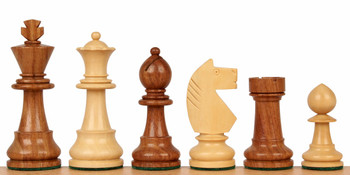 "Bohemia Staunton Chess Set in Golden Rosewood & Boxwood - 3.75"" King"