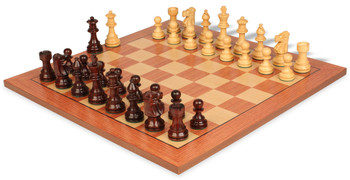 """French Lardy Staunton Chess Set in Rosewood & Boxwood with Rosewood Chess Board - 3.75"""" King"""
