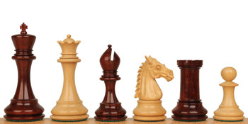 "Saint John Staunton Chess Set in Red Sandalwood & Boxwood - 4.4"" King"
