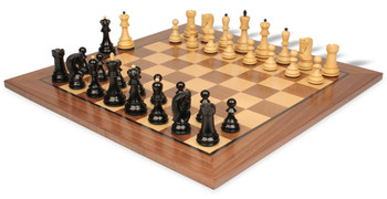 "Yugoslavia Staunton Chess Set Ebonized & Boxwood Pieces with Classic Walnut Chess Board - 3.875"" King"