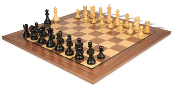 "Deluxe Old Club Staunton Chess Set Ebonized & Boxwood Pieces with Classic Walnut Chess Board - 3.75"" King"