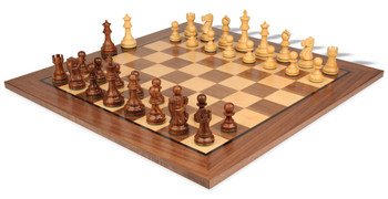 "Deluxe Old Club Staunton Chess Set in Golden Rosewood & Boxwood with Walnut Chess Board - 3.25"" King"