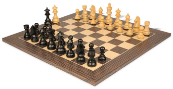 "German Knight Staunton Chess Set in Ebonized Boxwood with Tiger Ebony & Maple Deluxe Chess Board- 3.75"" King"