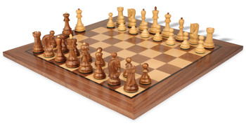 "Yugoslavia Staunton Chess Set in Golden Rosewood & Boxwood with Walnut Chess Board - 3.25"" King"