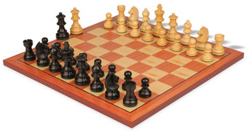 """German Knight Staunton Chess Set in Ebonized Boxwood with Rosewood Chess Board - 2.75"""" King"""