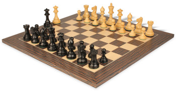 "Parker Staunton Chess Set Ebonized & Boxwood Pieces 3.25"" King with Tiger Ebony Deluxe Chess Board"