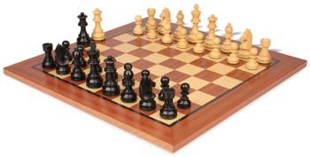 "German Knight Staunton Chess Set Ebonized & Boxwood Pieces with Classic Mahogany Chess Board - 2.75"" King"
