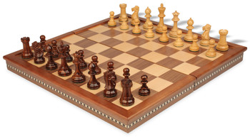 "Parker Staunton Chess Set in Rosewood & Boxwood with Walnut Folding Chess Case - 3.25"" King"