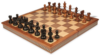 "Deluxe Old Club Staunton Chess Set in Ebonized Boxwood & Golden Rosewood with Walnut Folding Chess Case - 3.25"" King"