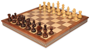 """German Knight Staunton Chess Set in Rosewood & Boxwood with Walnut Folding Chess Case - 3.25"""" King"""
