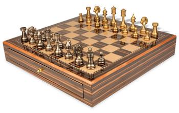 Grande Persian Brass Chess Set with Macassar Chess Case