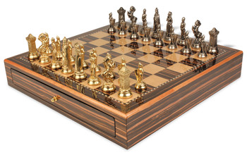 Mary Stuart Queen of Scots Theme Chess Set Brass & Nickel Pieces with Macassar Chess Case