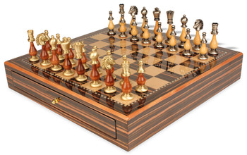 Persian Brass & Wood Staunton Chess Set with Macassar Chess Case