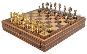 Fiorito Grande Staunton Brass & Nickel Plated Chess Set with Macassar Chess Case