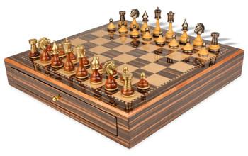 Persian Brass & Wood Chess Set with Macassar Chess Case