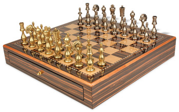 Arabesque Brass & Nickel Plated Staunton Chess Set with Macassar Chess Case