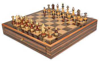 Silhouette Knight Brass & Wood Chess Set with Macassar Chess Case