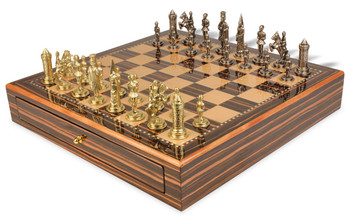 Camelot Theme Chess Set Brass & Nickel Pieces with Macassar Chess Case