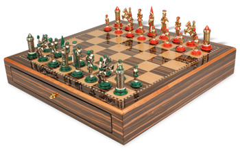 Camelot Theme Chess Set Brass & Nickel Hand Painted Pieces with Macassar Chess Case