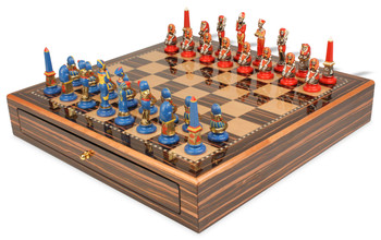 Egyptian Theme Chess Set Brass & Nickel with Hand Painted Pieces with Macassar Chess Case